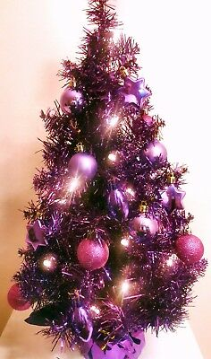 2' Purple Pre Lit Decorated Artificial Christmas Tree 20 Lights 27 Ornaments New