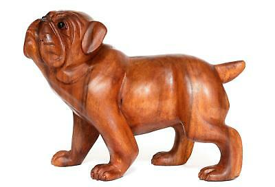 Wooden Walking Bulldog Statue Hand Carved Sculpture Figurine Art Home Decor Gift