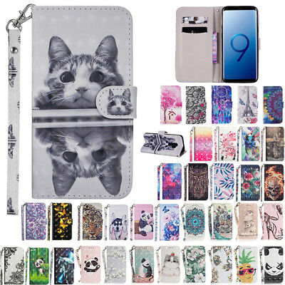 For Galaxy S8 S9+ A8 J2 Pro 2018 Magnetic Pattern Flip Leather Wallet Case Cover