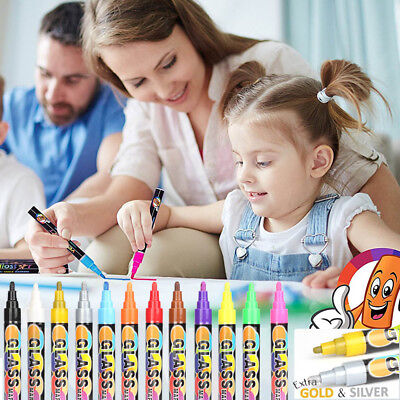 Chalkboard Chalk Markers - Pack of 12 Colors Non Toxic Wet Erase Liquid Pens New