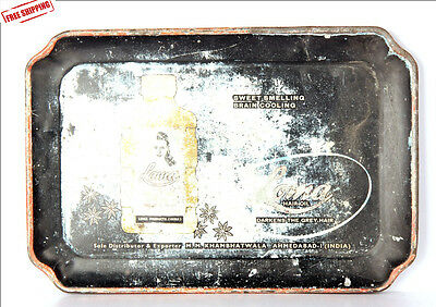 1930's Old Vintage Ad Sign Litho Printed Tin Loma Hair Oil Serving Tray  8785