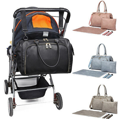 Large Mummy Maternity Baby Changing Bag Nappy Diaper Wipe Clean 4pcs PU Leather