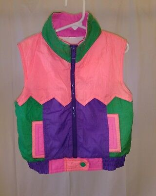 Vintage Retro 80's Neon Girls Lined Vest Great Condition Pink Purple Green Zz80