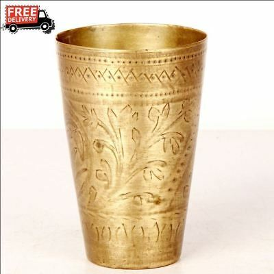 Old 1930's Handcrafted Bucket Engraved Brass Milk / Lassi Glass Rich Patina 8282