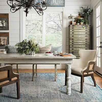 Large Floor Rug Teal Grey Print Distressed Traditional Carpet Runners 5 Sizes
