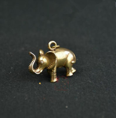 Chinese old antique Pure brass elephant small pendant
