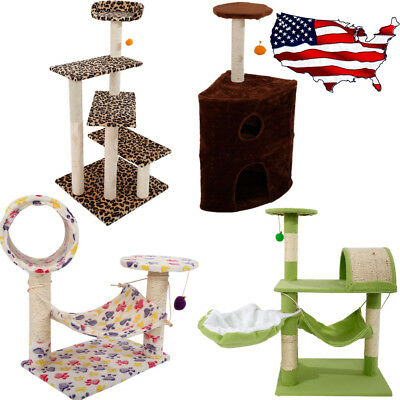 Deluxe Cat Tree Tower Condo Furniture Scratching Post Pet Kitty Play House US