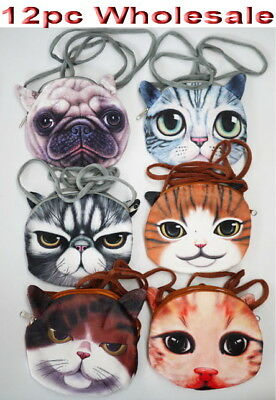 12pc Wholesale 3D Cat Dog Face Long Crossbody Bags Messenger Handbag Mixed