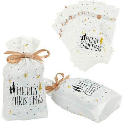 """10×Drawstring Merry Christmas Santa Candy Sweet Gift Shop Party Bags 5.6 x 9.2"""""""