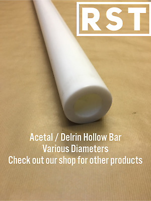 White / Natural,  Acetal / Delrin Hollow Bar. Plastic Tube.  Engineering Plastic