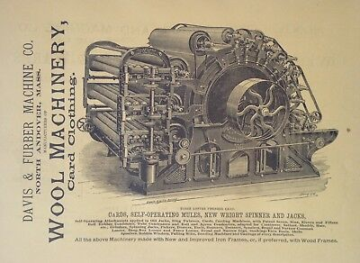 1890 Ad(H23)~Davis & Furber Machine Co. North Andover, Mass. Wool Machinery