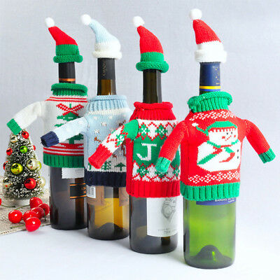 2pcs Christmas Wine Bottle Knitted Sweater Hat Scarf Cover Set Gift Decoration