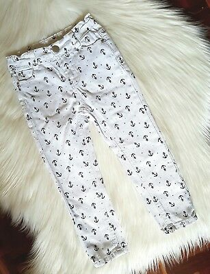 PUMPKIN PATCH - Size 2 white anchor print jeans unisex