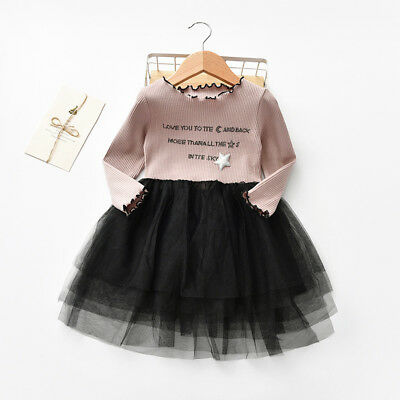 Toddler Kids Baby Girl Heart Sequins Party Princess Tutu Tulle Dress Outfits UK