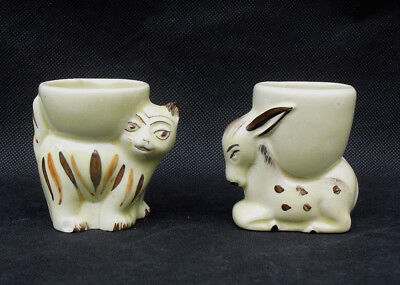 Vintage egg cups made in England smiling cat and donkey 1930s rare