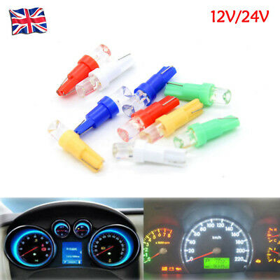 10X T5 W1.2W LED Car Interior Light Dashboard Warning Indicator Bulbs 12V/24V