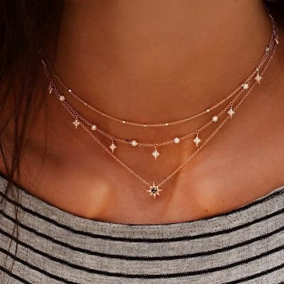 Gold Color Choker Short Crystal Stars Pendant Chain Multi-layer Necklaces