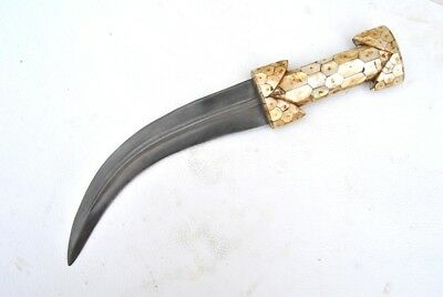Indo Persian Mughal Silver Mother Of Pearl Handle Wootz Pesh Kabz Dagger Knife