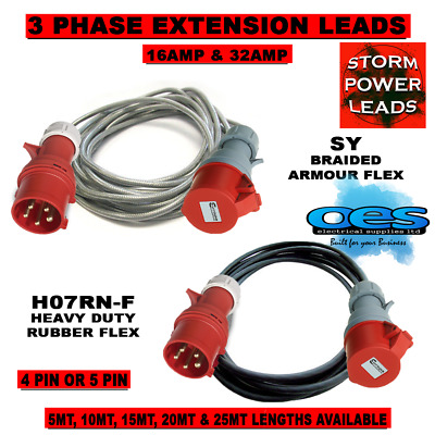 3 Phase 16Amp-32Amp 415Volt Extension Leads 4 Pin-5 Pin Hook Up Lead Heavy Duty