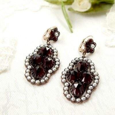 Grandiose Vintage garnet earrings with seedpearls and 14ct gold wires