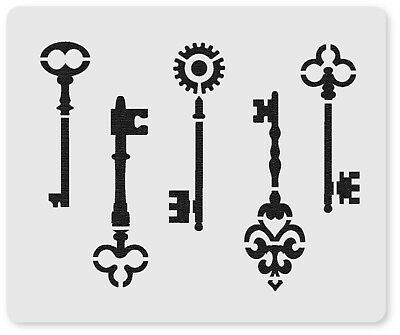 Steampunk Keys Crafting Airbrush Face Painting Stencil 12cm x 10cm Washable
