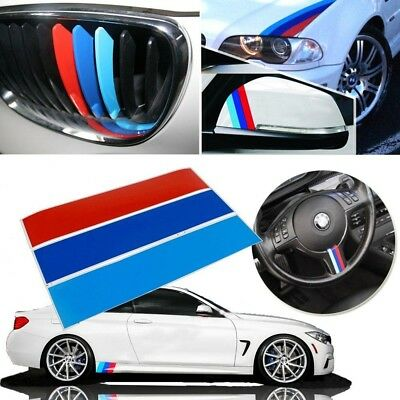 1 M Tech Color Autos Front Grill Wide Badge Sticker Emblems Decal For All Series
