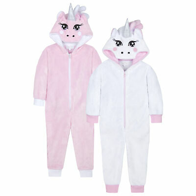 Girls Unicorn All In One Sleepsuit Pyjama Jumpsuit Playsuit Novelty Tail Glitter