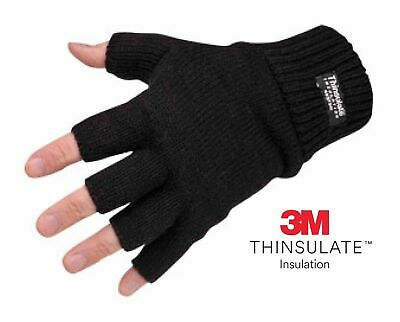 Mens Ladies THERMAL THINSULATE FINGERLESS GLOVES Knitted Wooly 3M Black UK NEW