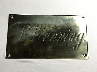 Antique Brass Plaque - Wall Mounted - Named