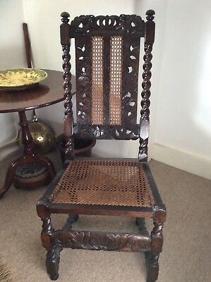 17Th Century Charles 11 Caned High Back Chair Circa 1670...
