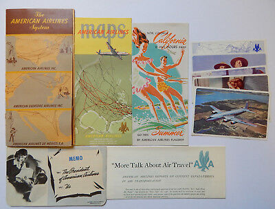 1947 American Airlines System Flagship Information Pack- Postcards, Map etc