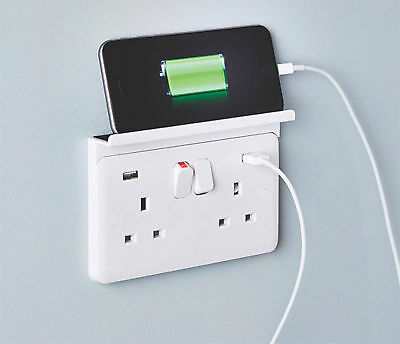 2 Gang Mobile Phone / Tablet Charger Shelf Sits Over Mains Plug Socket Outlet