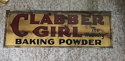 VINTAGE 1920'S CLABBER GIRL HEALTHY BAKING POWDER 2 Sided TIN SIGN