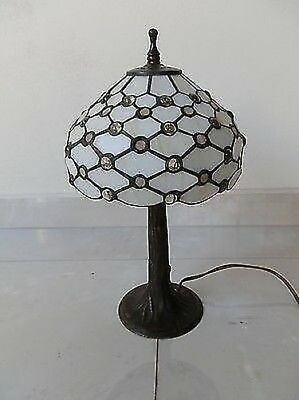 Lamp Lampshade glass TIFFANY base LIBERTY brass ivory drops of glass