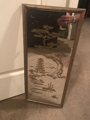 Vintage Oriental Mirror with Gold Etched Design Must See!!!!