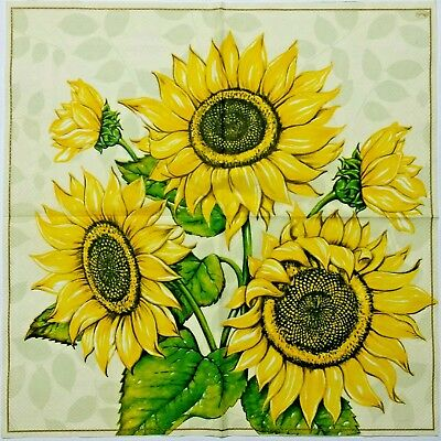 SUNFLOWER  2 individual LUNCH SIZE  paper napkins for decoupage 3-ply