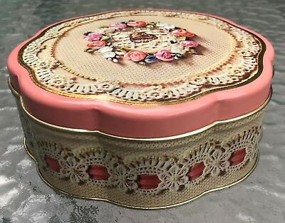 Vintage Floral Cottage Shabby Embossed Decorative Tin ~ Avon Valentine's 1981