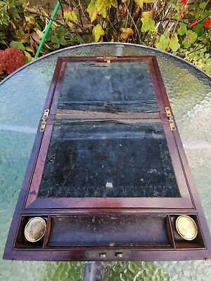 Antique 19th Mahogany Brass Bound Writing Slope With Secret Drawers & Inkwels