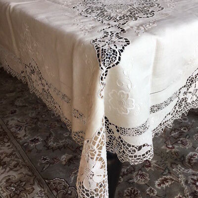 """ITALIAN Linen Tablecloth 120"""" x 65"""" & 24 Napkins Hand Embroidered"""