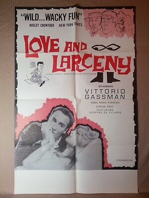 1960 Vintage Love and Larceny Movie Poster 27x41 Large One Sheet US Original