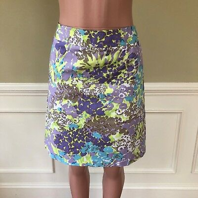601f46f0fa Talbots Womens Skirt Purple Green Floral Stretch Cotton Career Work Size 8