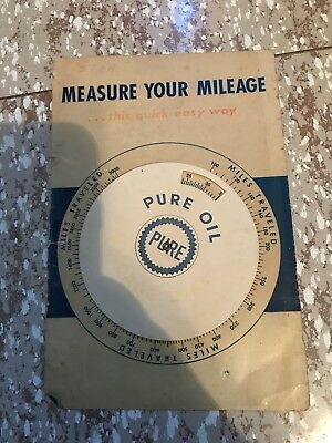 Vintage Advertising Pure Oil Measure Your Mileage Dial Wheel Pure Gas Pump