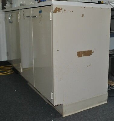 2x3' laboratory metal cabinet with white top bench