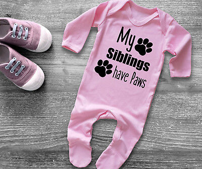 My siblings have Paws long  sleeve light pink baby grow bodysuit rompasuit.