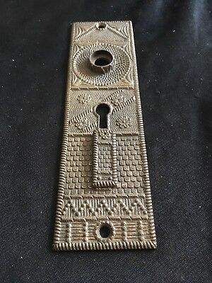 Antique Entry F C Linde Solid Bronze Double Keyhole Backplate