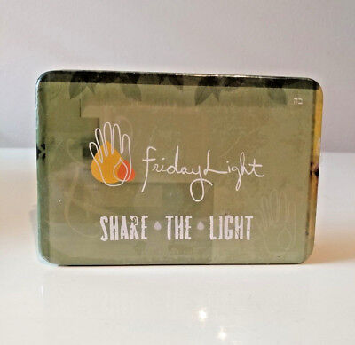 """Travel Chabad Tin of Jewish Shabbat Survival Candle kit matches incl. 3""""x 5""""x1"""""""