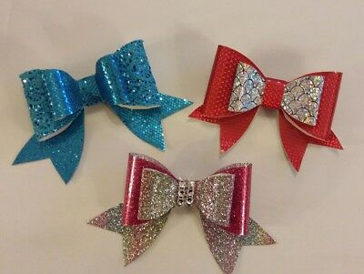 "4"" Plastic Double Hair Bow Template Make Your Own Glitter fabric Bows"