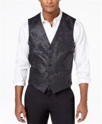 INC Slim Fit Stretch Floral Brocade Vest with Pocket Chain Black Mens Small New