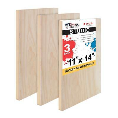 "11"" x 14"" Studio 3/4"" Profile Depth Artist Wood Pouring Panel Boards Pack of 3"