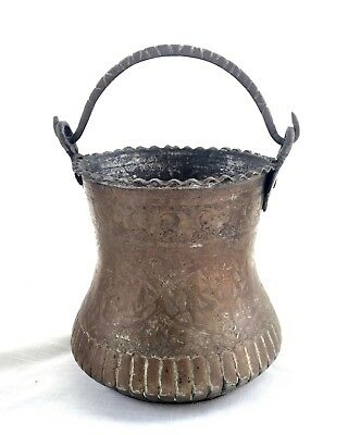 Vintage Hand Chased Brass Bucket with Swing Handle - Middle Eastern/Asian
